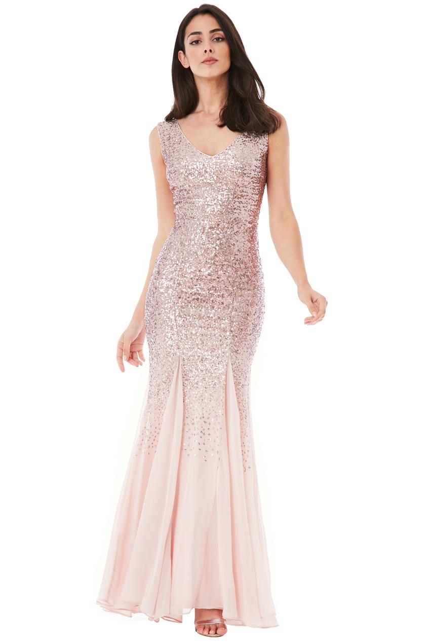 Goddiva Womens Maxi Chiffon Dress, Sequin Gradient, Pink, V Neck ...