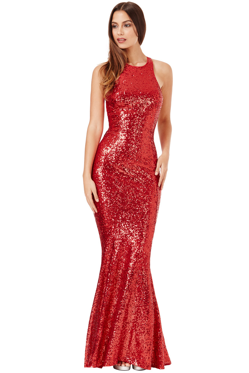 523379ec6e8bf Details about Goddiva Womens Red Sequin Maxi Dress