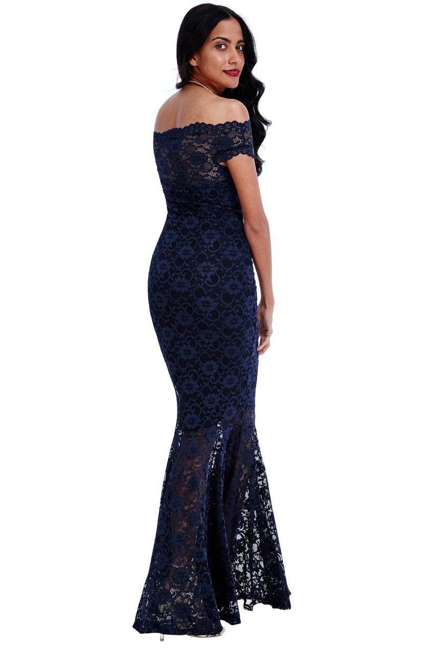 e602385c2539 Goddiva Womens Navy Blue Lace Maxi Dress, Bardot Neck Sleeveless Ladies