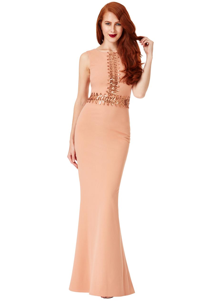 goddiva womens sequin cut out zig zag midi dress, nude, ladies