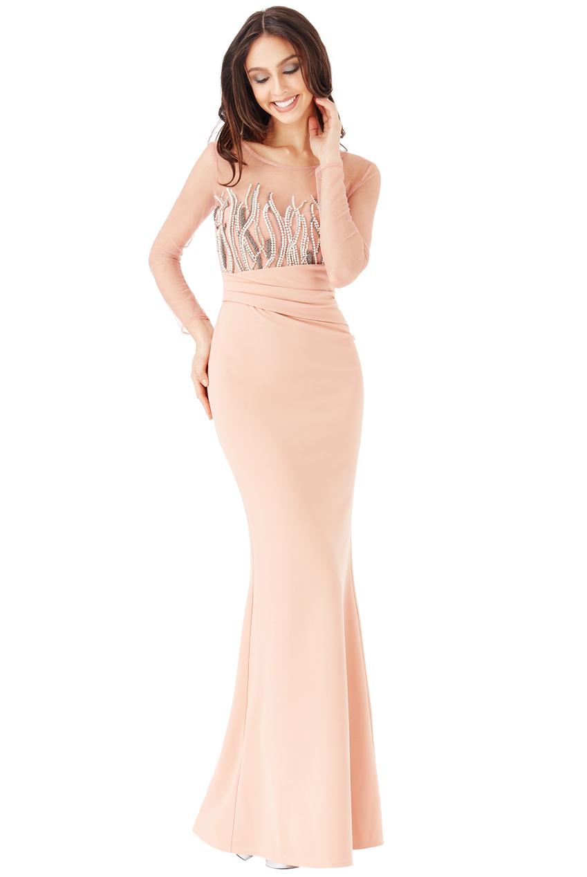 goddiva womens long sleeved embellished maxi dress, nude, ladies