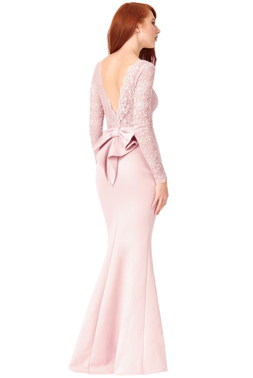 Goddiva Womens Open Back Lace Maxi Dress, Nude, Ladies Evening ...