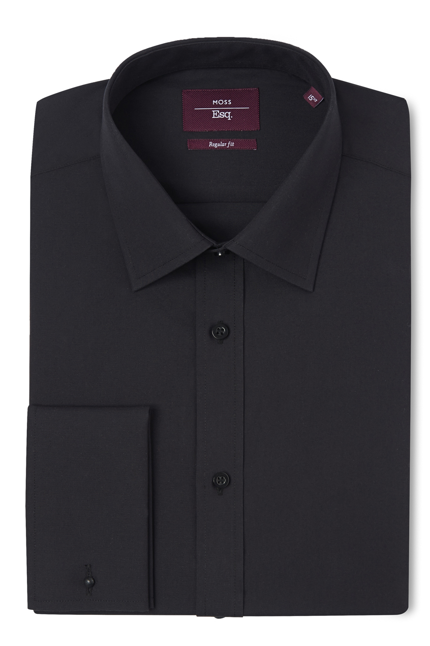 Moss esq mens black shirt regular fit wool double cuff for Cuff shirts for men
