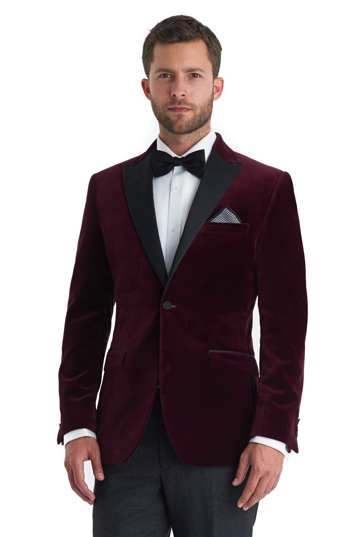 Moss 1851 Mens Wine Red Suit Jacket Tailored Fit Burgundy Velvet Blazer b3817824d
