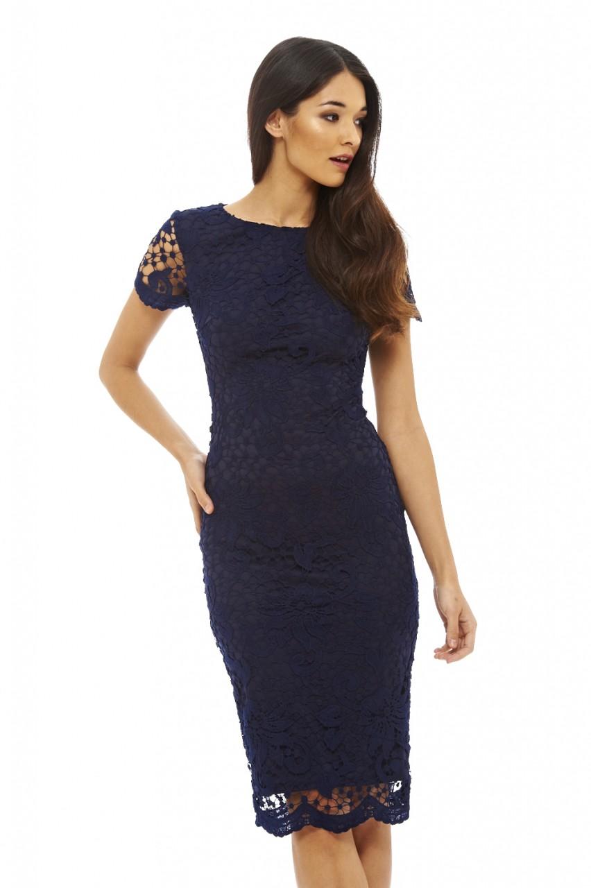 b43bd395104a AX Paris Womens Crochet Lace Midi Bodycon Dress, Navy, Ladies Evening Wear