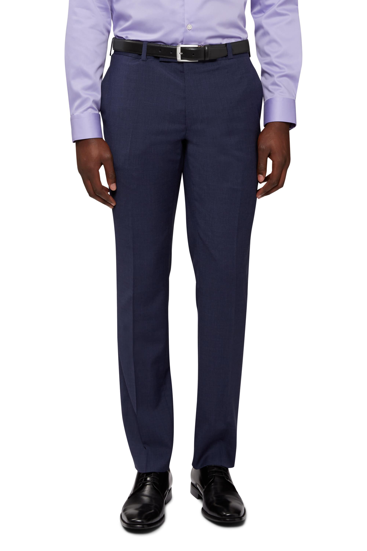 DKNY-Mens-Blue-Suit-Trousers-Slim-Fit-Marl-Wool-Flat-Front-Formal-Pants