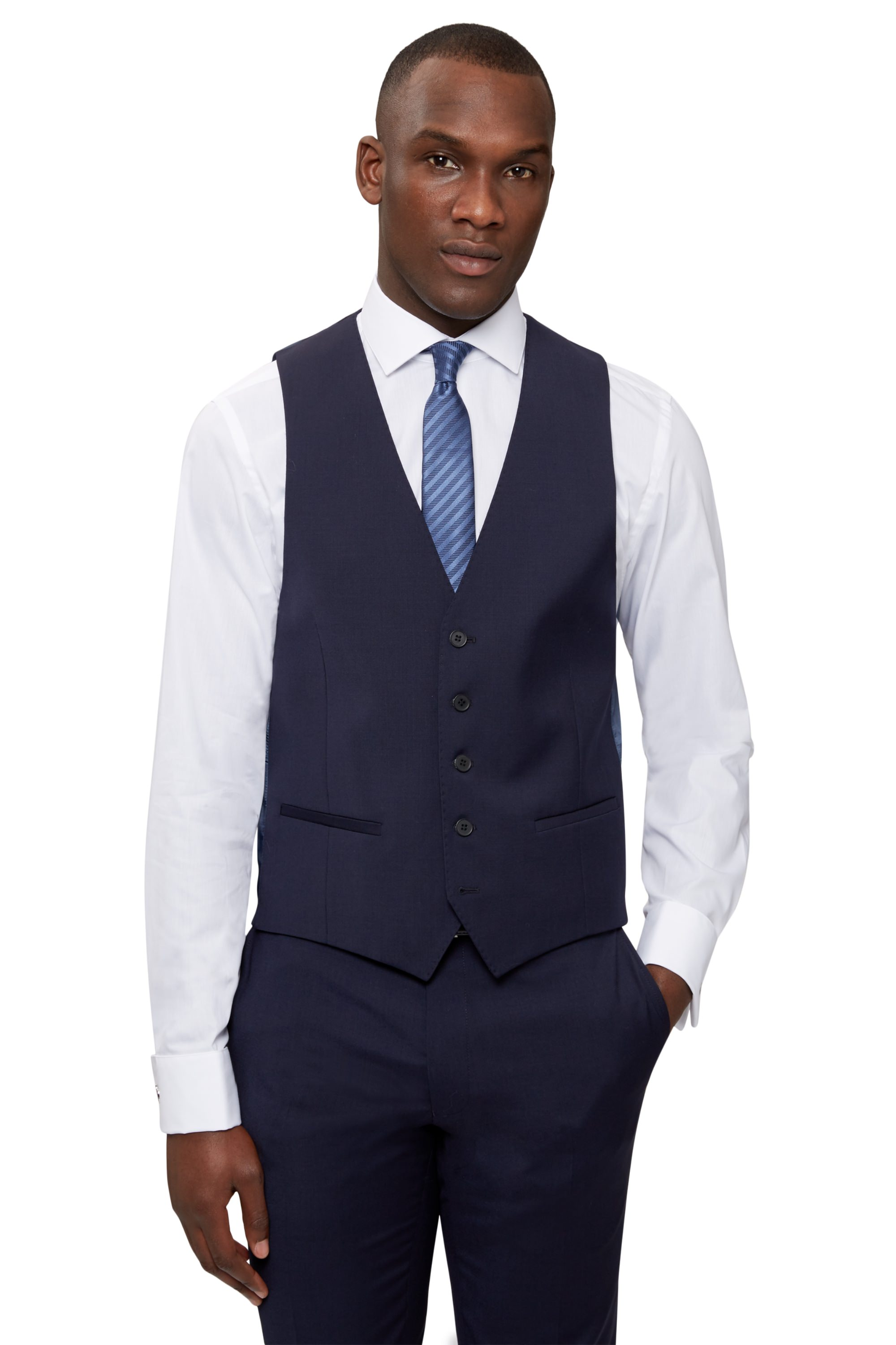 da7359e777 Details about DKNY Mens Navy Blue Waistcoat Slim Fit Single Breasted Wool  Suit Vest Formal