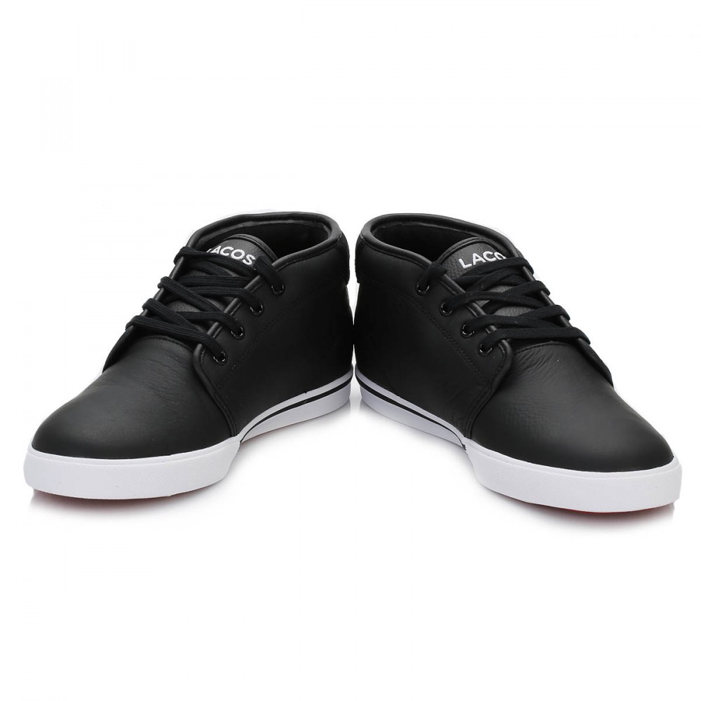7930b3ee494f Lacoste Mens Trainers Ampthill Black or White Leather Lace Up Casual ...