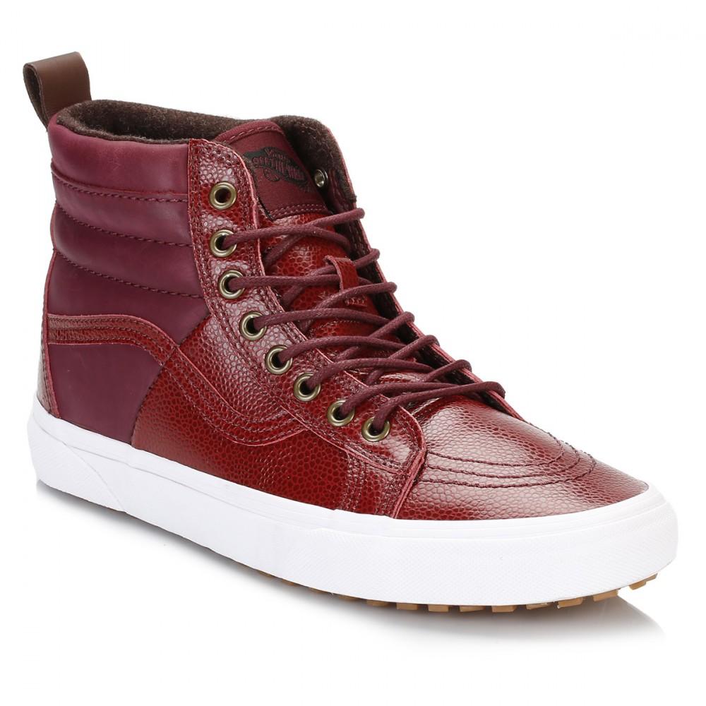 Vans Womens Hi Tops, Burgundy Red, Pebble Leather, SK8-Hi