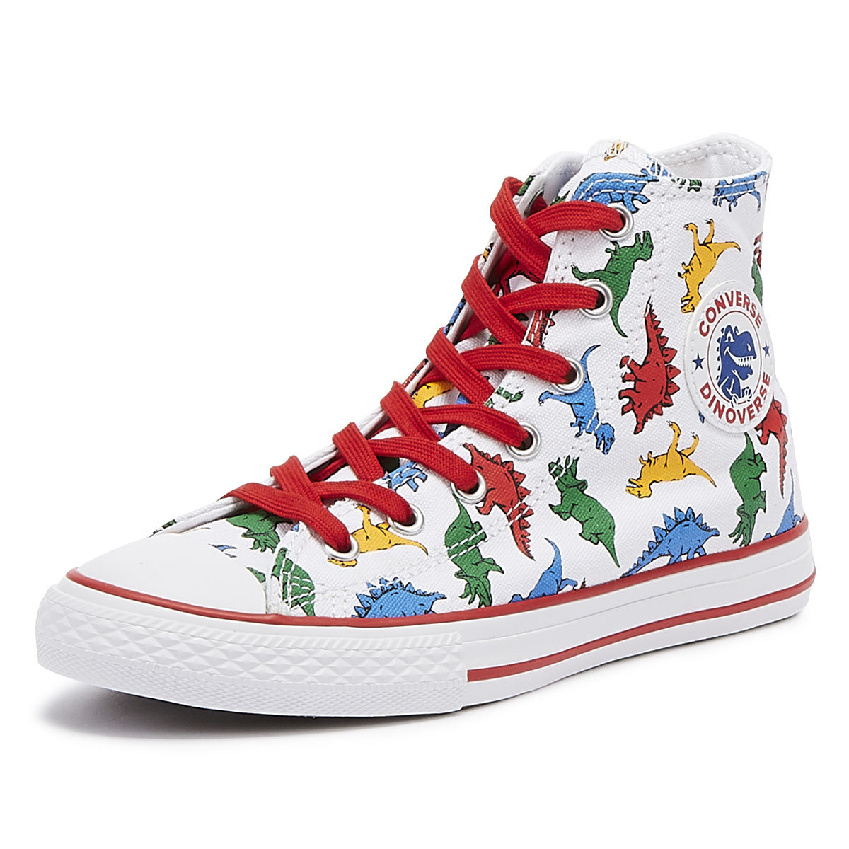 c87d2c33a8bc Converse All Star Chuck Taylor Junior Dinosaur Hi Trainers Kids Casual Shoes