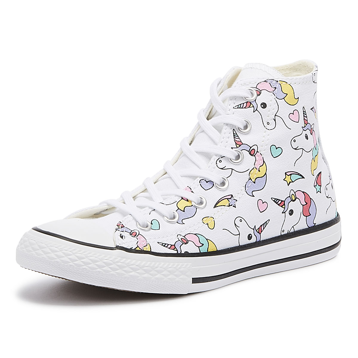 97737e2ebee7 Details about Converse Chuck Taylor All Star Junior Unicorn   Rainbow Hi  Trainers Kids Shoes