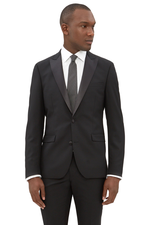 5688712f636491 DKNY Mens Black Tuxedo Jacket Slim Fit Two Button Peak Lapel Formal Suit  Blazer