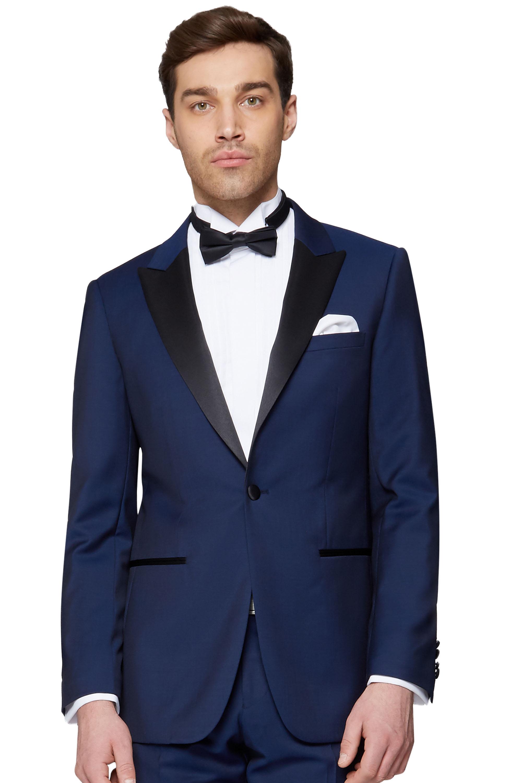 44268fe288 Moss 1851 Mens Blue Tuxedo Jacket Tailored Fit Black Lapel One Button Blazer
