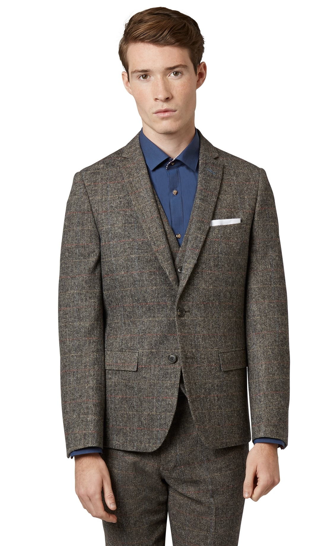 Moss London Mens Check Brown Suit Jacket Slim Fit Herringbone ...