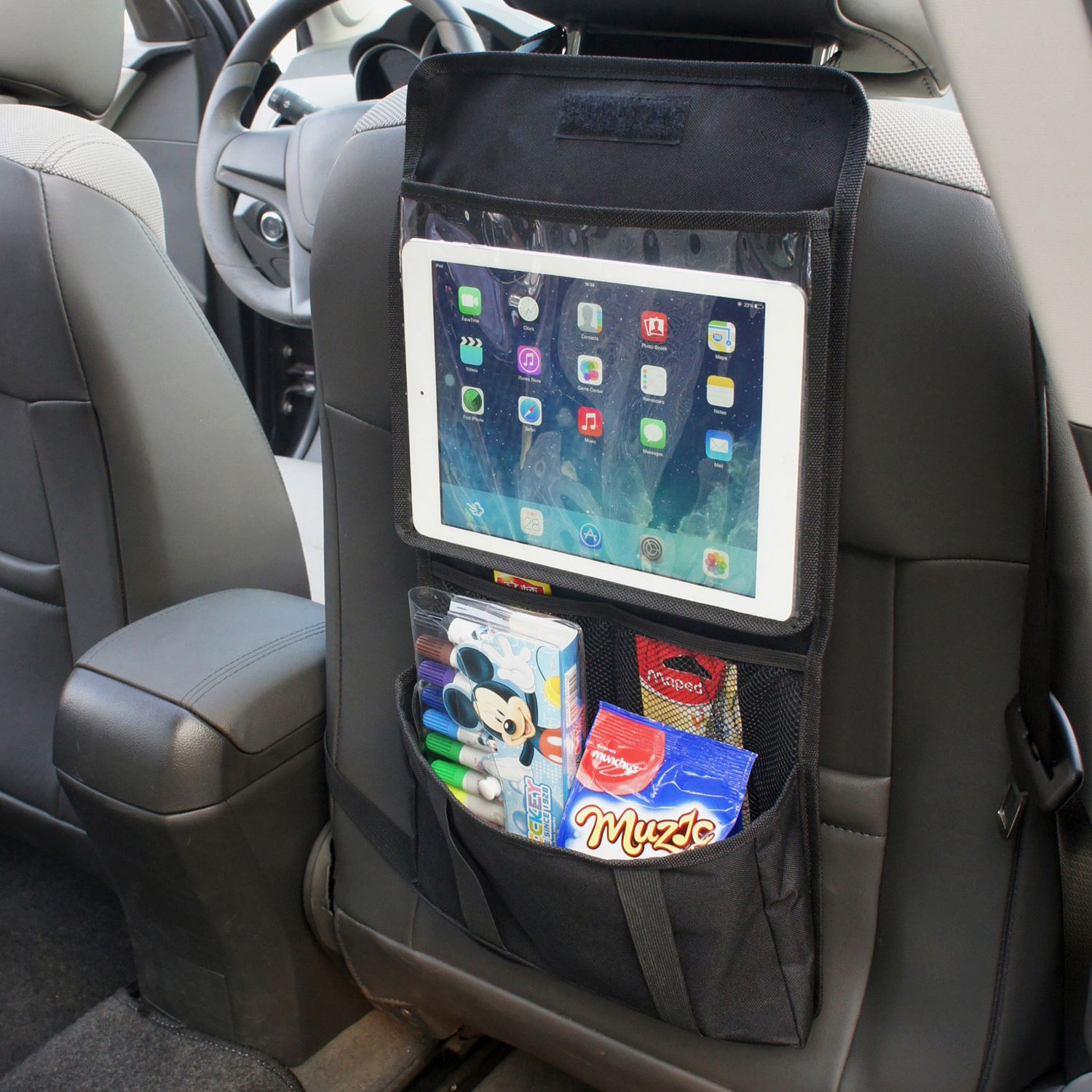 Car Back Seat Tidy Organizer, Tablet Holder, Multi Pockets Storage