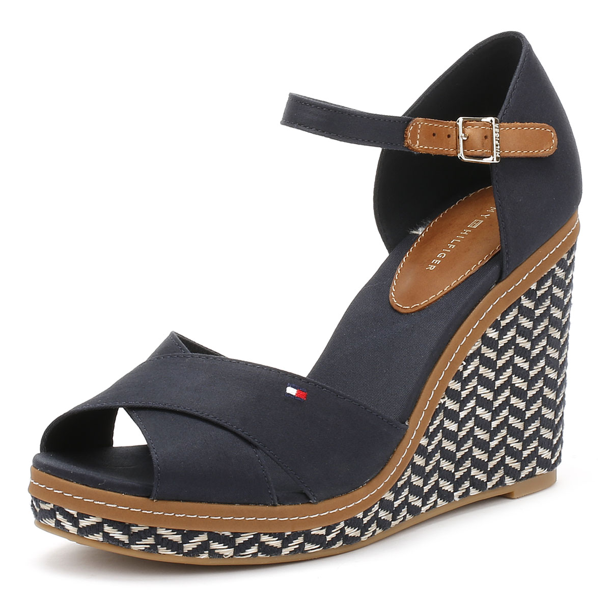 ef27faabd02 Details about Tommy Hilfiger Womens Wedge Sandals, Midnight 43D Textile,  High Heel Shoes