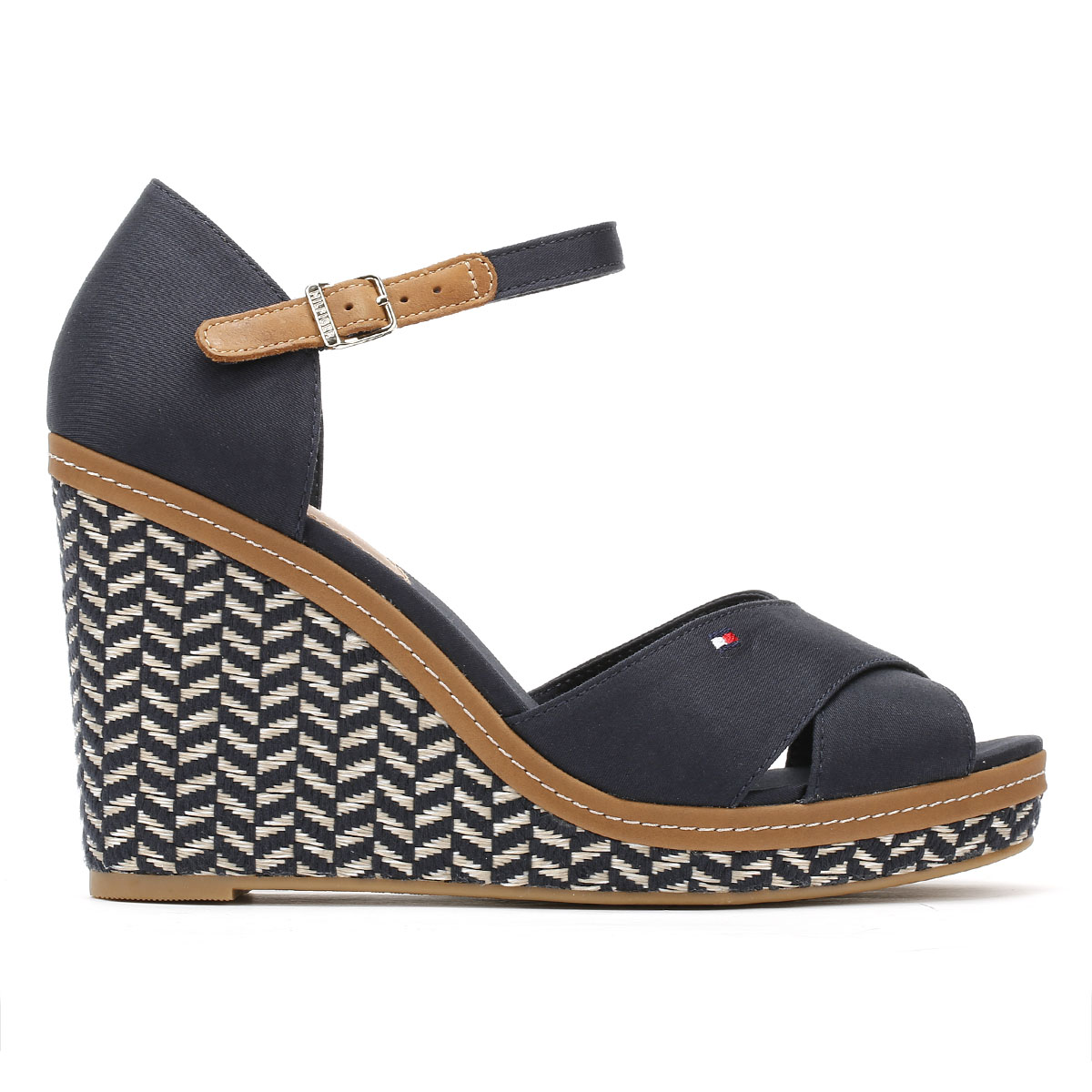1f0f0f1569d56d Made of a textile and leather mix upper and adjustable ankle strap.  Complete with signature Tommy Hilfiger branding. 10cm heel height.