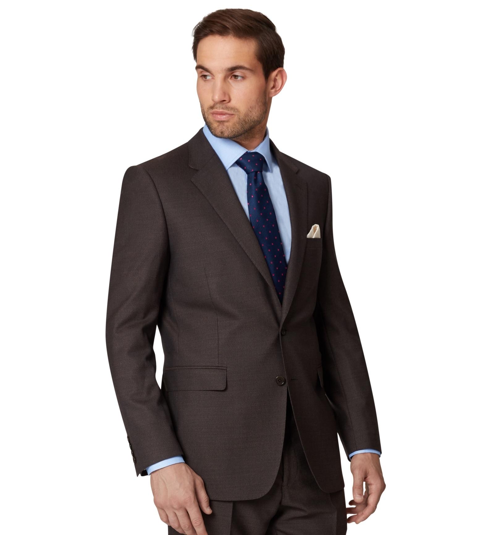 ecdac9be096d Ermenegildo Zegna Cloth Mens Brown Suit Jacket Sharkskin Wool Regular Fit  Blazer