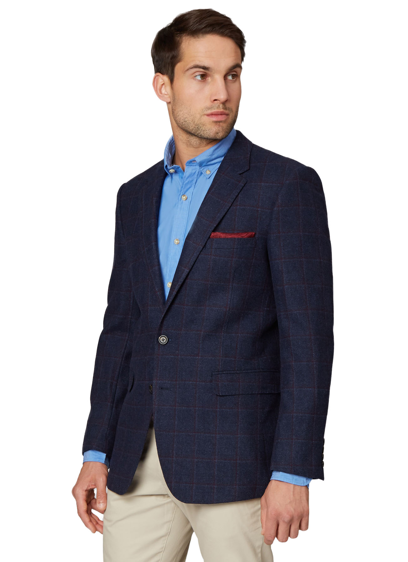Ermenegildo Zegna Cloth Men Check Navy Suit Jacket Regular Fit Windowpane  Blazer a5ed50fa5e10