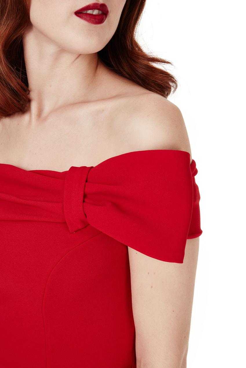65cd8c3a1a204f Goddiva Womens Bow Detail Bardot Fishtail Maxi Dress, Red, Ladies Evening  Wear