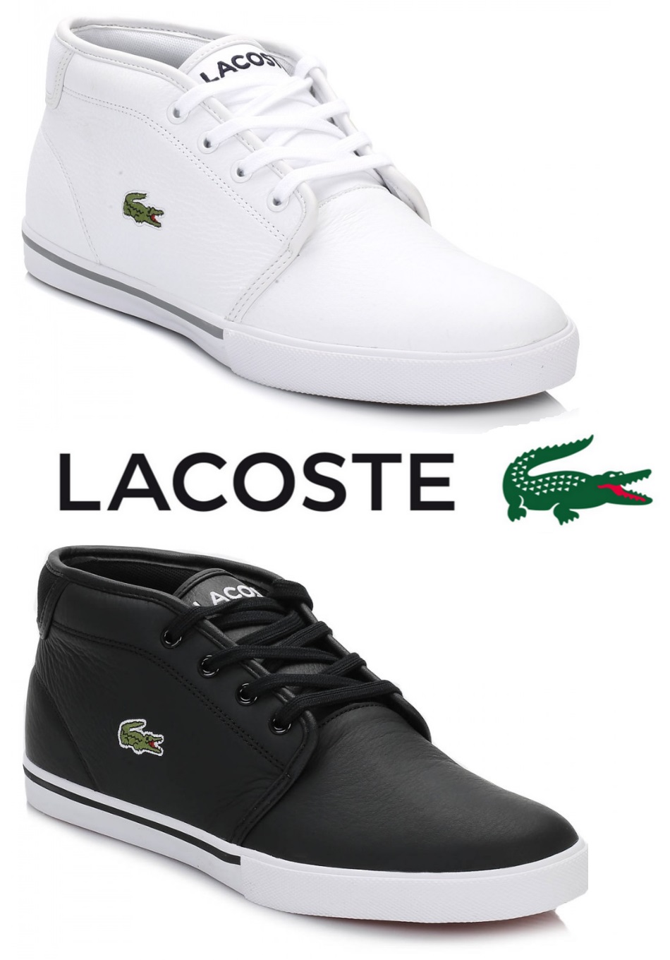 d3a3a4182 Details about Lacoste Mens Trainers Ampthill Black White Leather Lace Up  Casual Sport Shoes