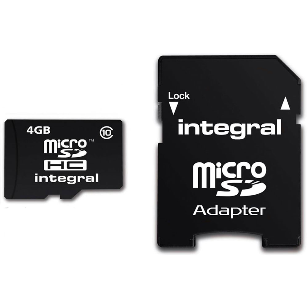 Integral Micro Sd Card 4gb With Adaptor Class 4 Transfer Speed Memory Adapter
