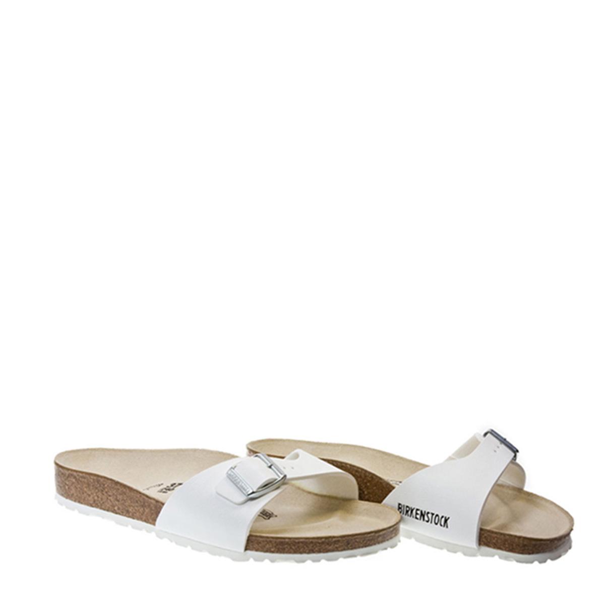 39c1e216925fc1 Details about Birkenstock Womens Madrid White Birko Flor Sandals Slip On  Flat Summer Shoes