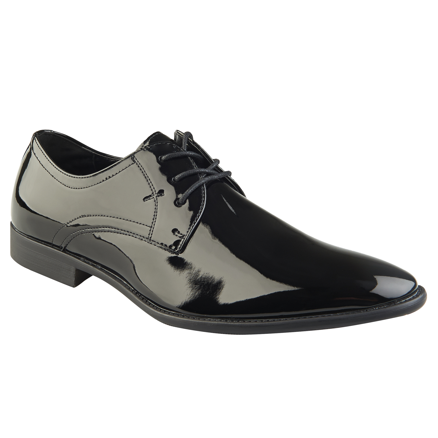 997c608582a41 Moss London Mens Black Patent Shoes Derby Lace up Polished Synthetic Leather