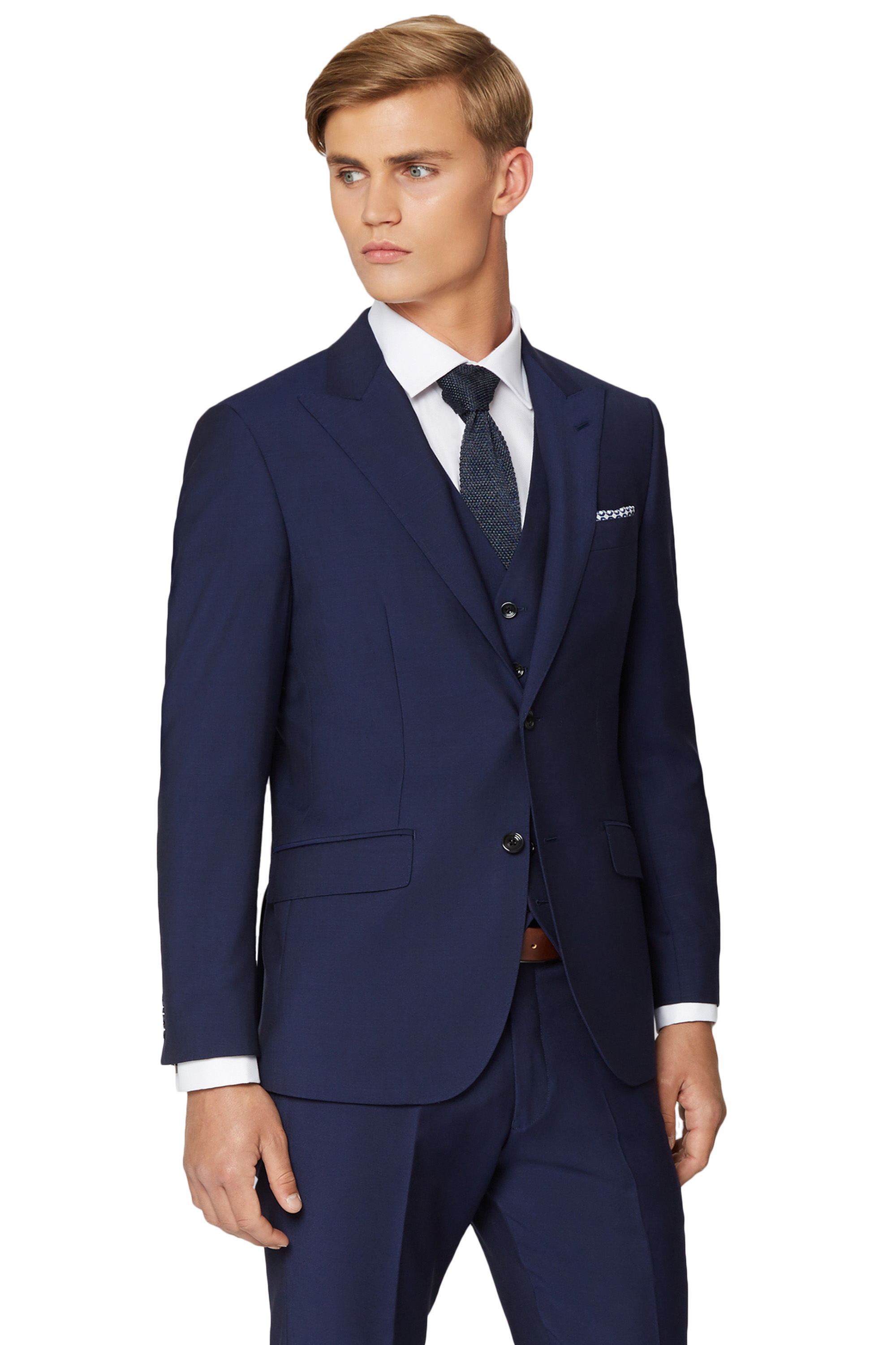 Hardy Amies Mens Dark Blue Suit Jacket Tailored Fit Wool ... - photo#3