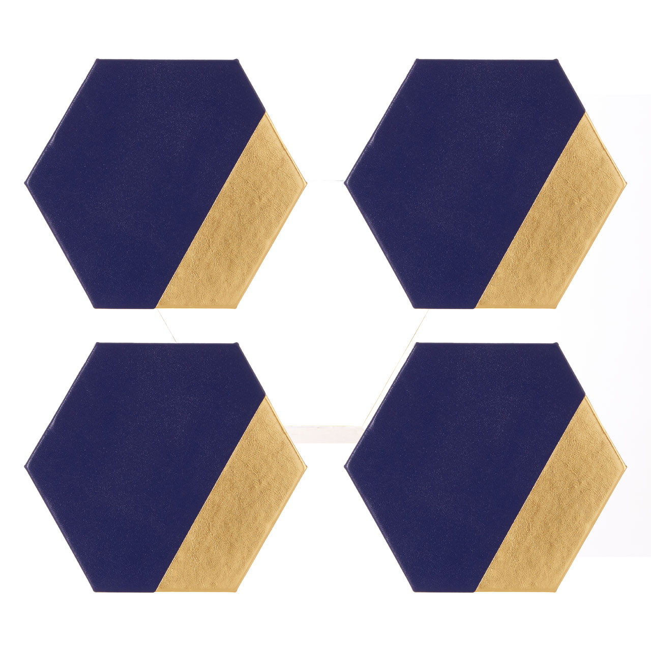 959e5f201 Geome Dipped Hexagonal Coaster Navy Gold Set of 4 Drink Table Mat ...