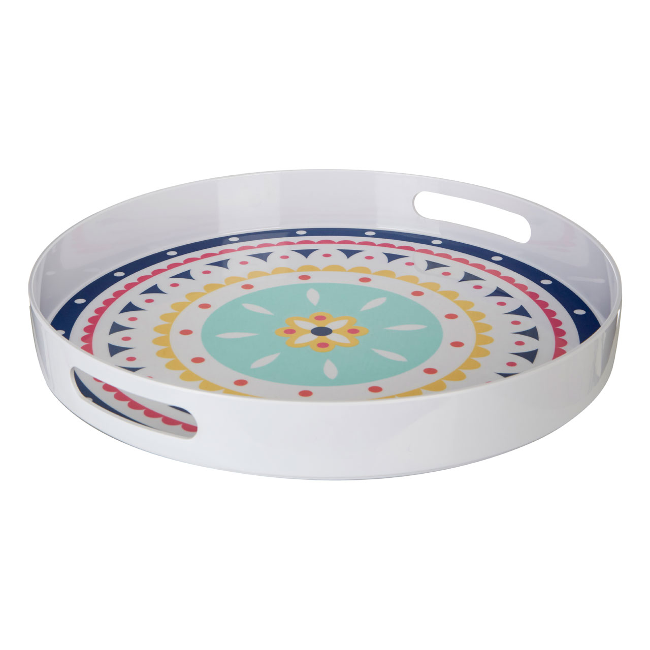 Mimo Bazaar Serving Tray Melamine With Handles Round Food Dishes