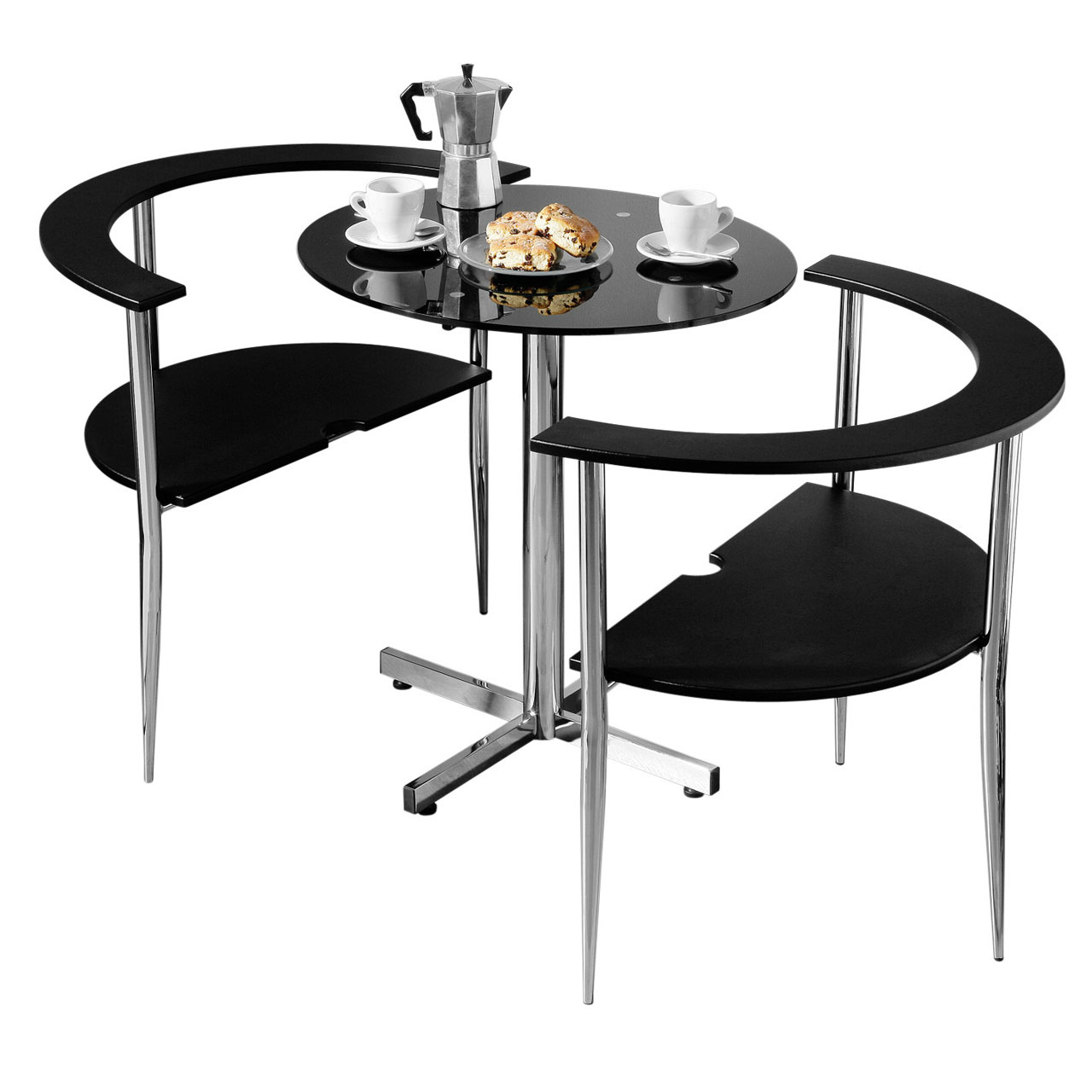 pretty nice bfcd8 7d935 Details about 3pc Round Love Dining Set Black Tempered Glass Table Top 2  Chairs Home Furniture