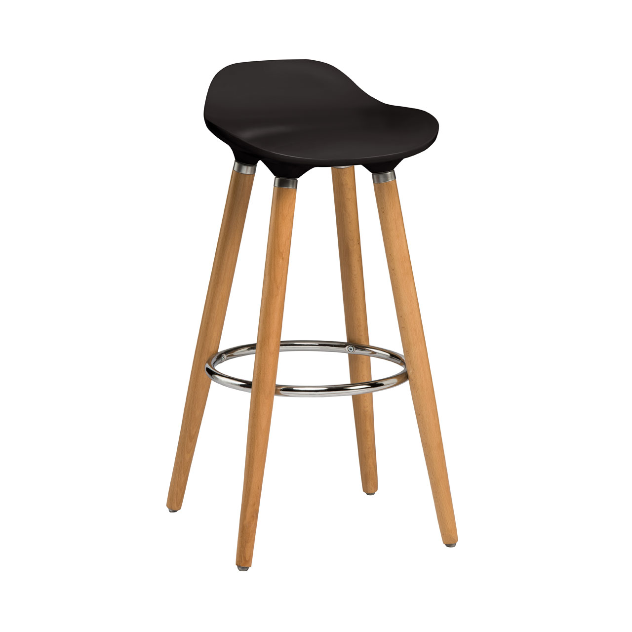 Stockholm Bar Stool Black Plastic Seat Beech Wood Legs Breakfast ...