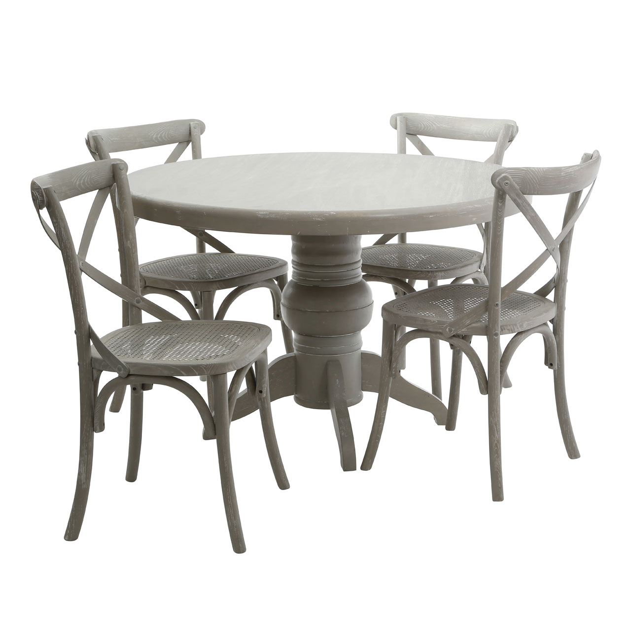 Details About Vermont 5pc Dining Set Grey Wash Wooden Round Table 4 Chairs Home Furniture