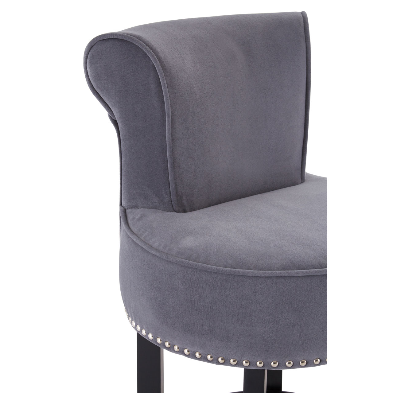 Regents Park Bar Chair Polyester Grey Velvet Seat