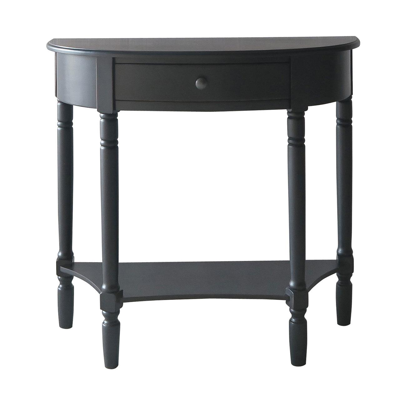 Heritage Console Table Half Moon Black 1 Drawer Pine Wood Hallway Furniture