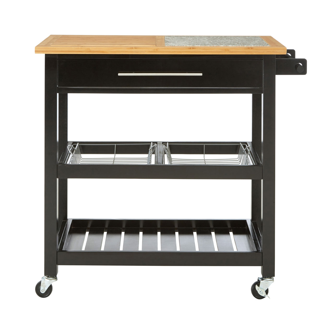 Kitchen Trolley Granite Top Pinewood Frame Storage and Preparation ...