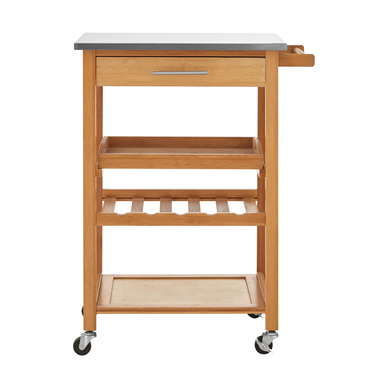 Kitchen Trolley Bamboo Stainless Steel Top Storage and Preparation ...
