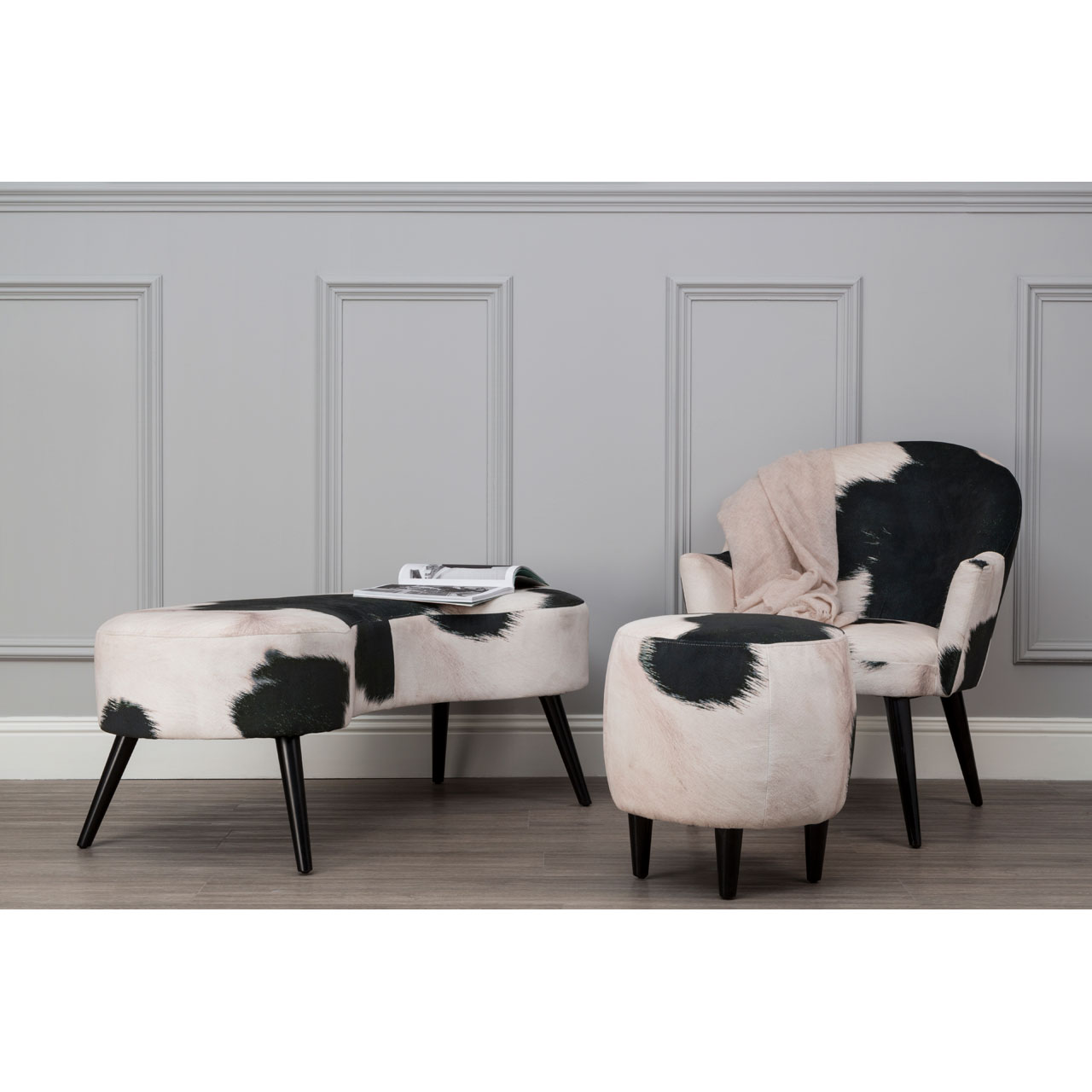 Ringo Bench Cowhide Print Black And White Bedroom Seat