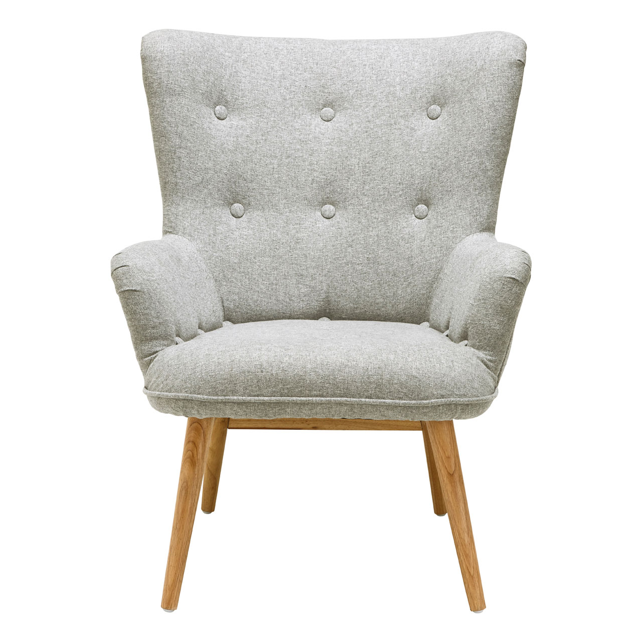 Details About Bergen Armchair Grey Polyester Natural Wood Legs Sofa Lounge Chair Furniture
