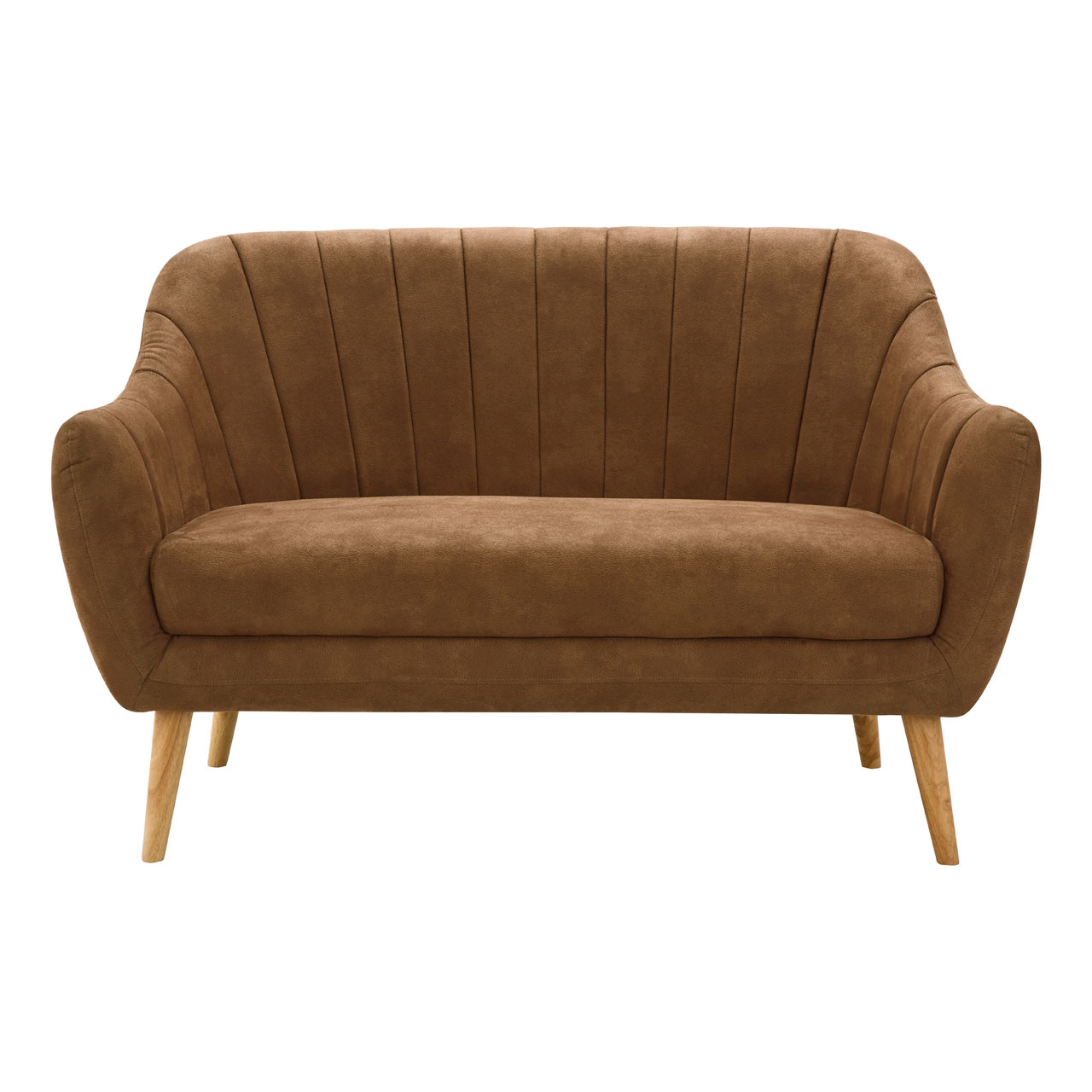 Zurich Sofa (2 Seater), Microfibre Rubberwood, Brown
