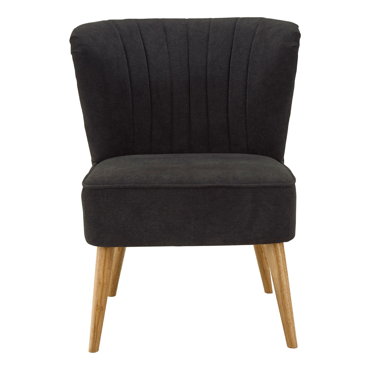 Details About Geneva Wingback Chair Charcoal Chenille Rubberwood Legs
