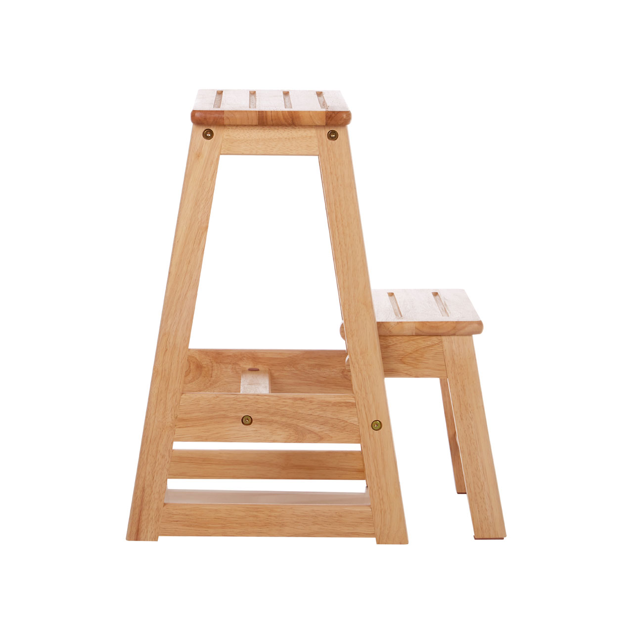 Details About Two Step Stool Tropical Hevea Wood Kitchen Ladder Foldable