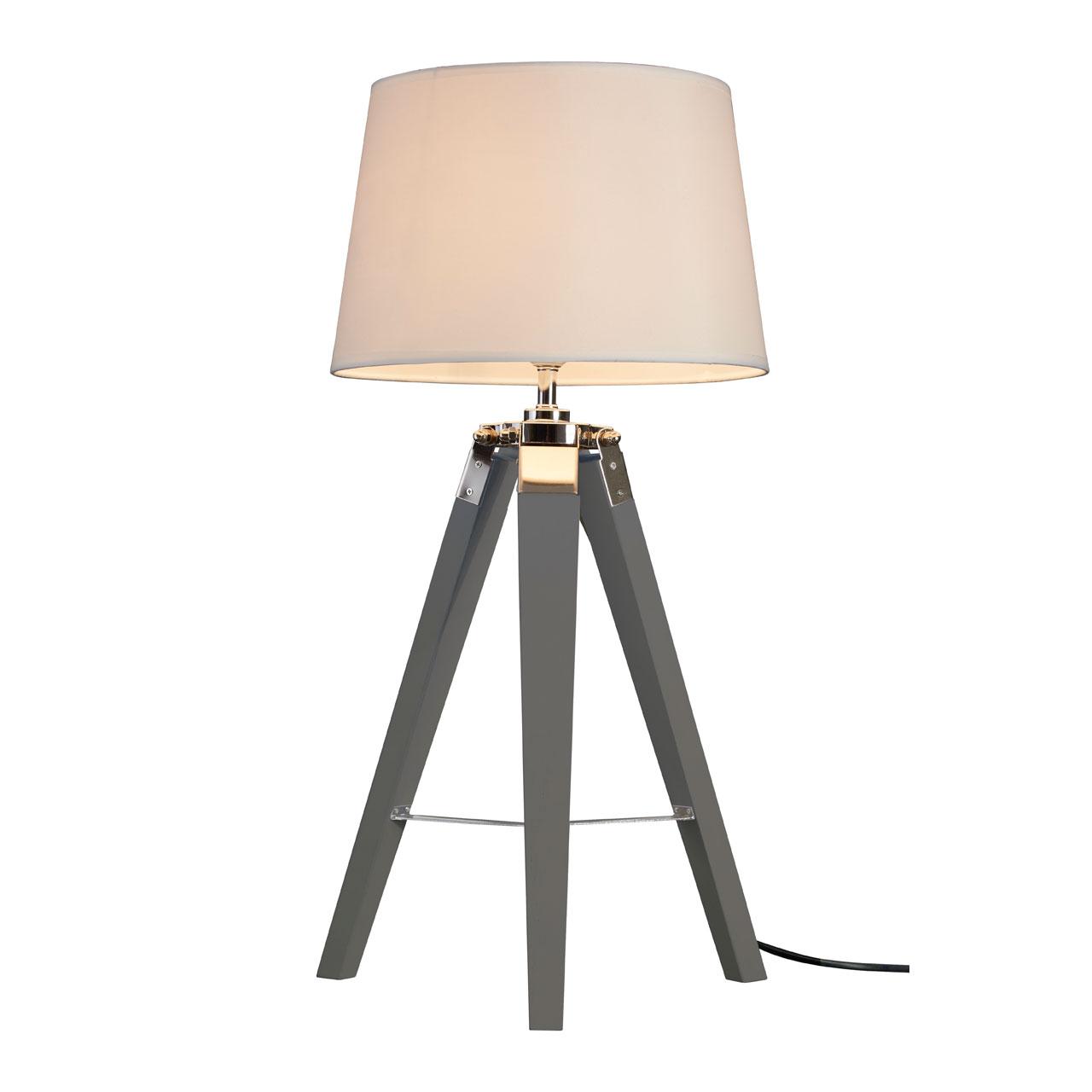 Details About Bailey Table Lamp Grey Tripod Wooden Base Bedside Light Scandinavian Style