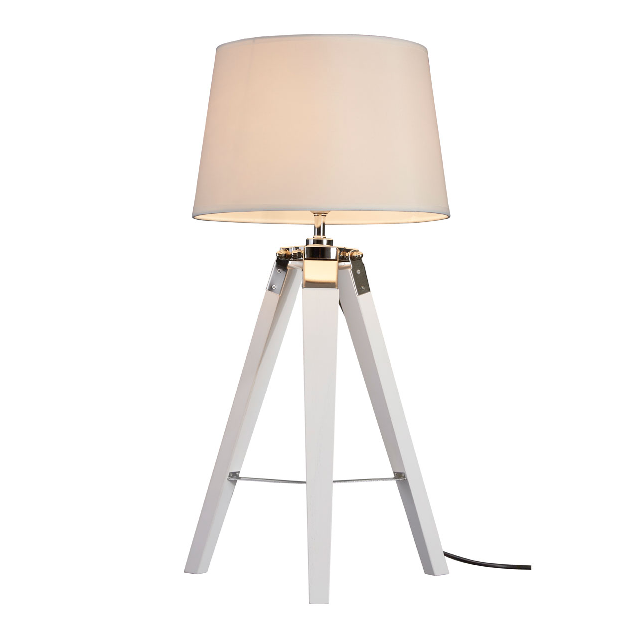 Bailey Table Lamp White Tripod Wooden Base Bedside Light Scandinavian Style