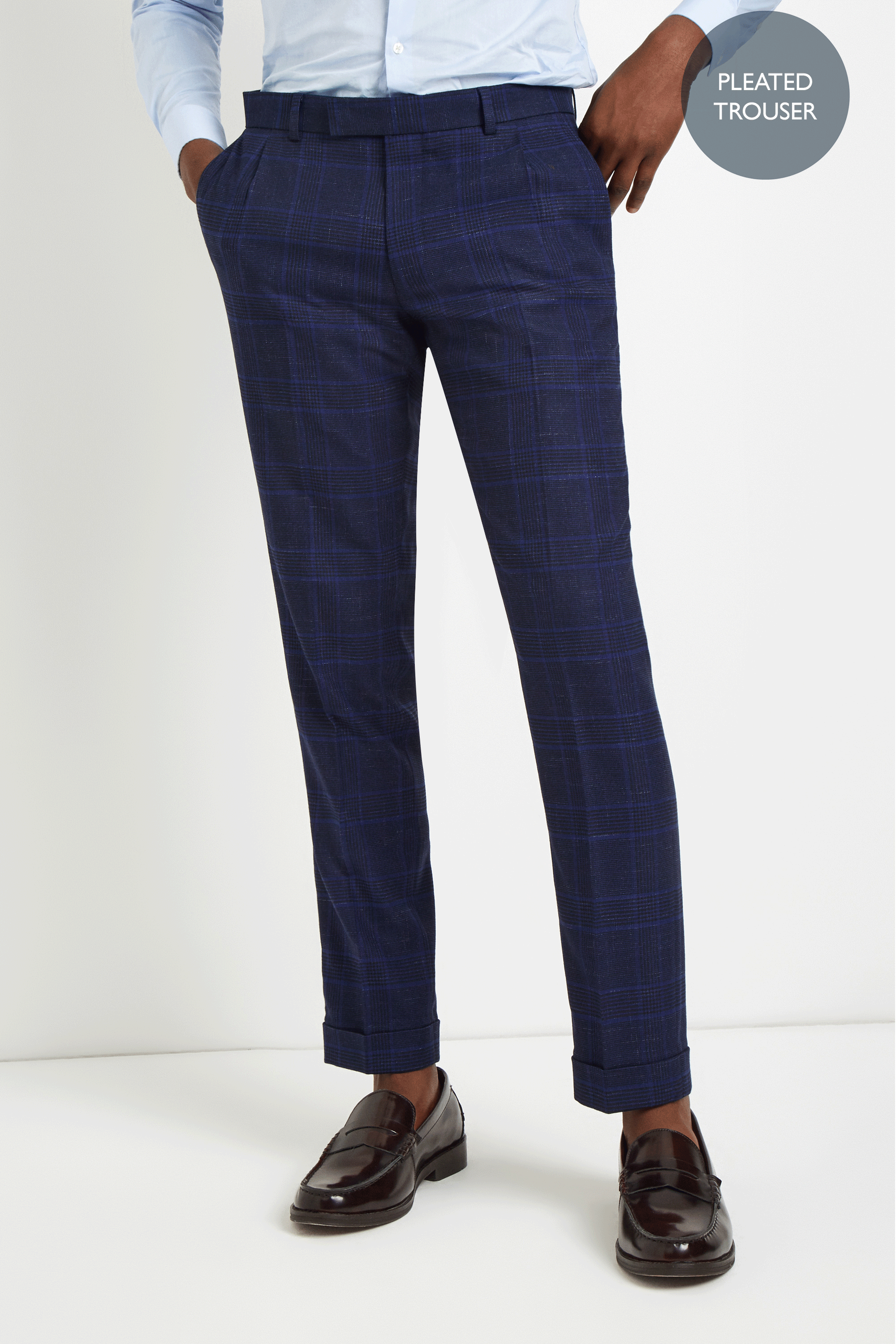 3997dbd21 Details about Moss London Mens Trousers Skinny Fit Blue Bold Check Pleated  Formal Pants