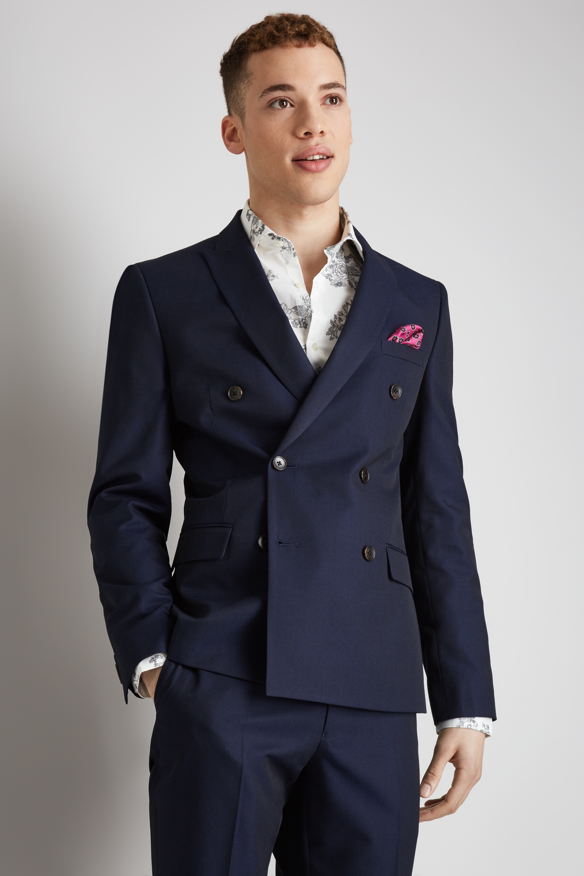 a4e4bd4990801d Moss London Mens Double Breasted Suit Jacket Skinny Fit Ink Blue Mix & Match
