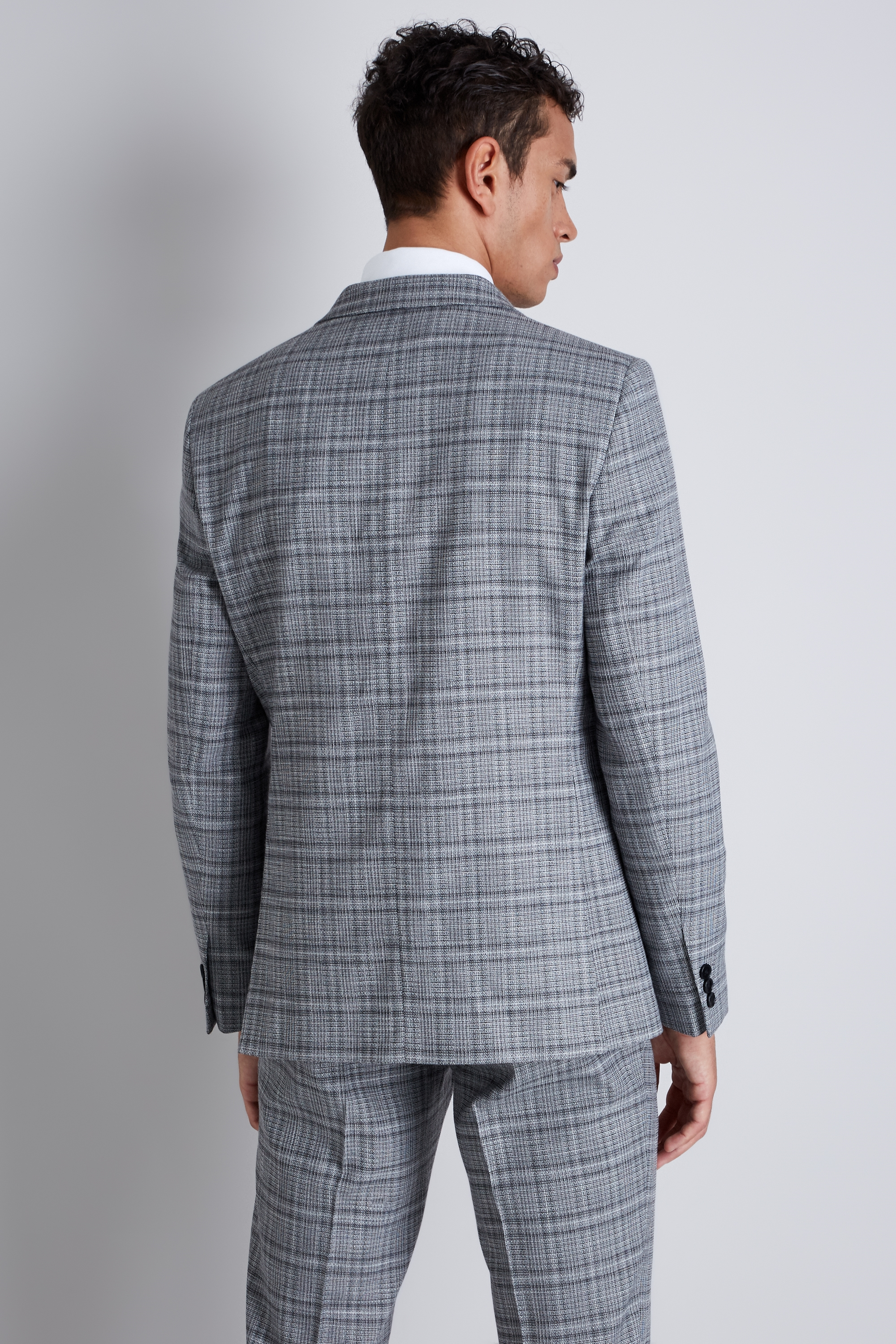 Details about Moss London Mens Suit Jacket Skinny Fit Black and White Twist  Check 2 Button