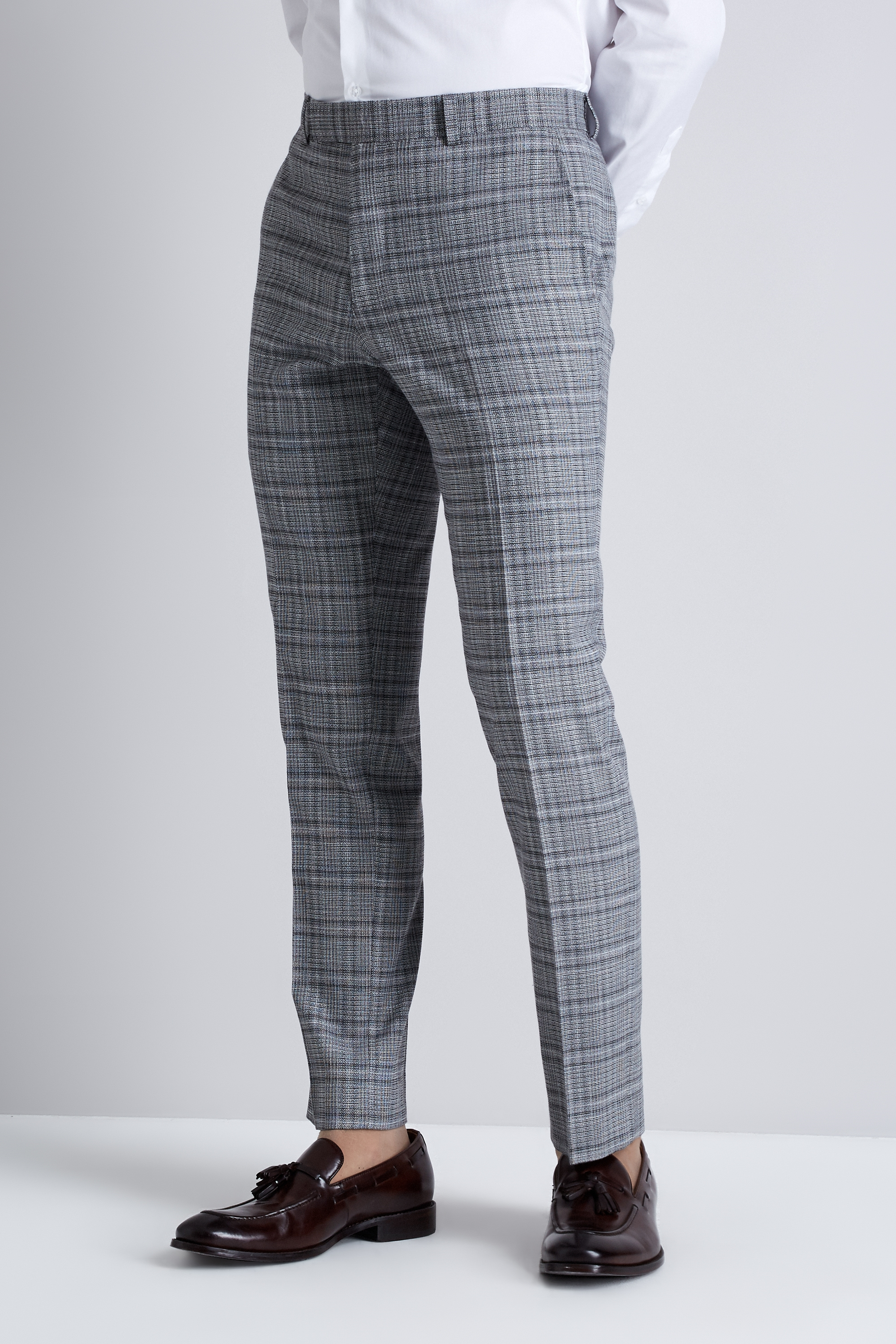 Moss London Mens Suit Trousers Skinny Fit Black And White Twist Check Pants | EBay
