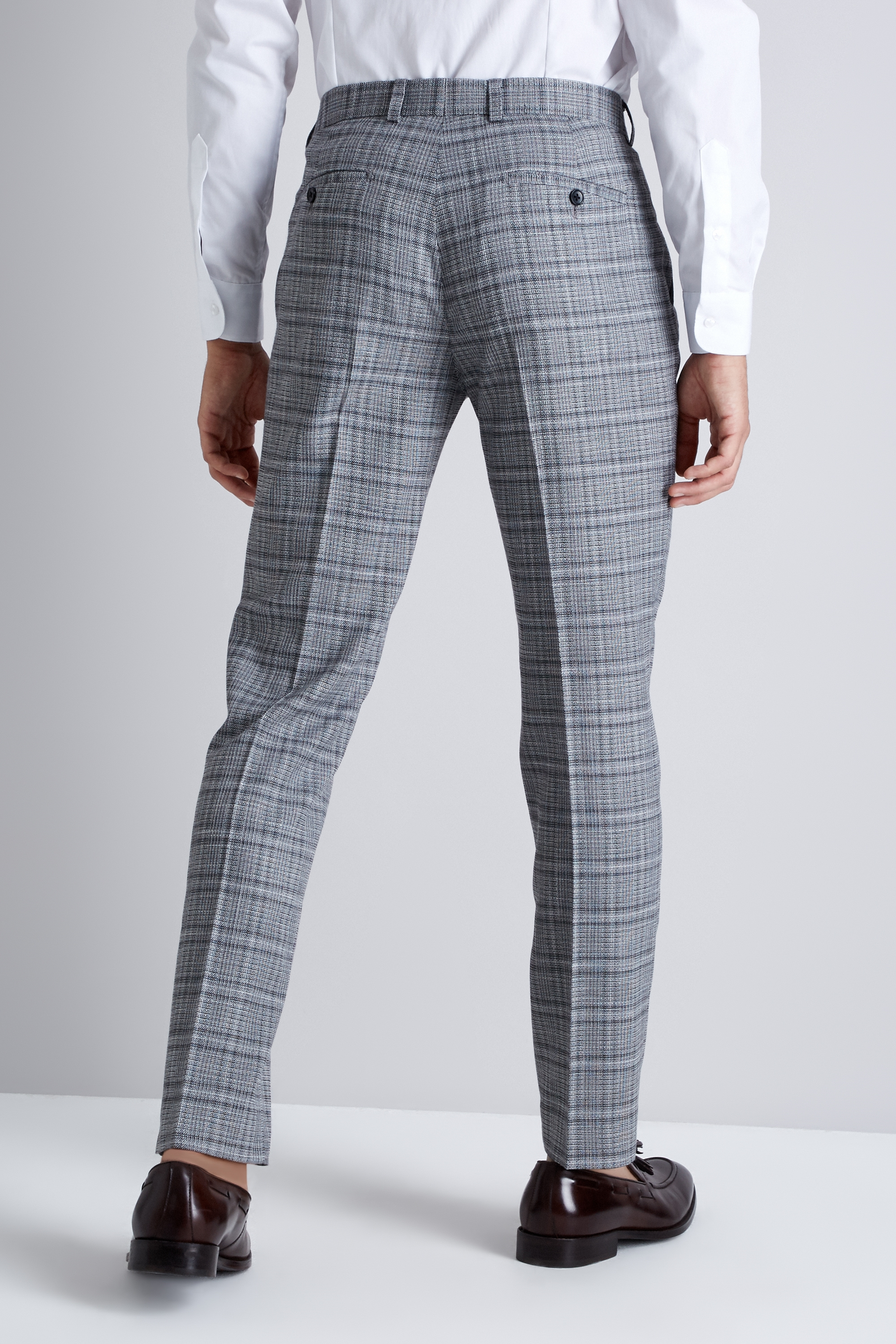 c2e52e833a6f Moss London Mens Suit Trousers Skinny Fit Black and White Twist Check Pants